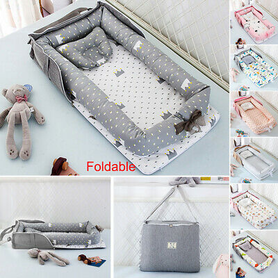 Newborn Crib Baby Bed&Pillow Foldable Outdoor Cradle Cot Sleeping Nest Nursery