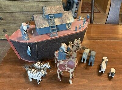 Fantastic Hand-Carved Noah's Ark Figure Folk Art, signed, 1991 w/ Animals