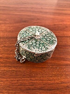 Rare Chinese Or Indian Sterling Silver Repousse Enamel Spice /Snuff Box 18-19Thc