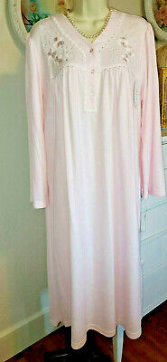NWT 1X Miss Elaine Nightgown Gown NEW SOFT & WARM Cozy Light PINK Cuddleknit