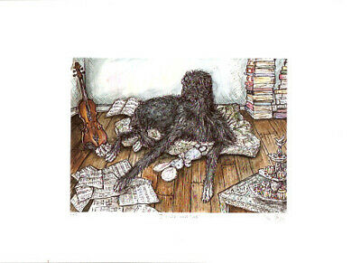 Deerhound Limited Edition Print by UK Artist Elle Wilson I Could Have Lied
