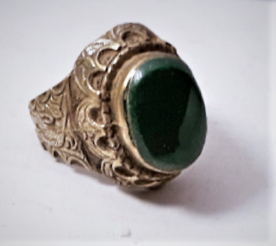 Antique Sassanian Persian Chrysoprase in Cast Silver Ring 9