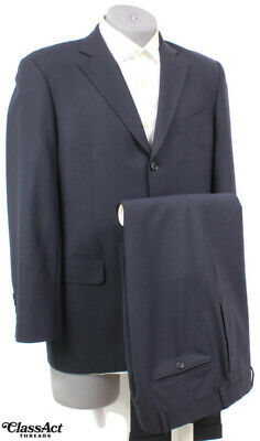 """Brooks Brothers 346 Stretch Men's Navy 3 Btn 2 PC Suit 40R Flat Fronts 32"""" Waist"""