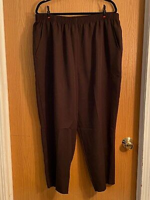 Women's Brown Briggs NY 24W Petite polyester pants w/ elastic waist and pockets