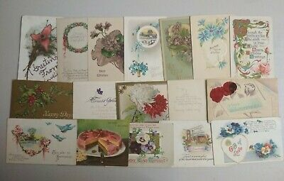 GREETINGS 50 VINTAGE POSTCARDS c1910-30s Various Publishers Many EMBOSSED (L009)