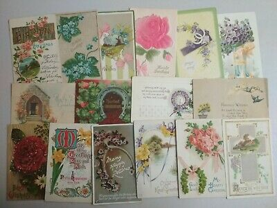 GREETINGS 50 VINTAGE POSTCARDS c1910-30s Various Publishers Many EMBOSSED (L008)