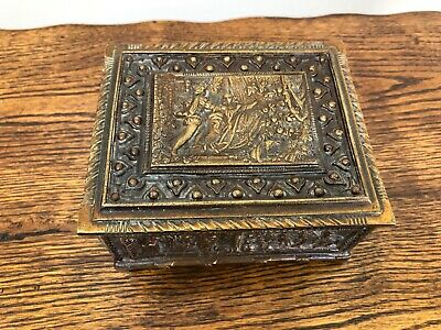 ANTIQUE EARLY 20th CENTURY GILT BRONZE BRASS JEWELRY CASKET BOX c1910 FRENCH