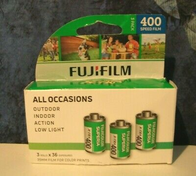 Fujifilm 3 Pack 400 Speed 35 MM Film for Color Prints 3 Rolls x 36 Exp. 03/2021