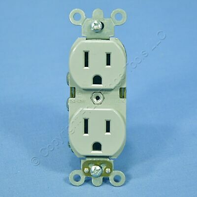 Leviton Gray INDUSTRIAL SLIM BODY Receptacle Duplex Outlet 5-15R 15A 5262-SGY