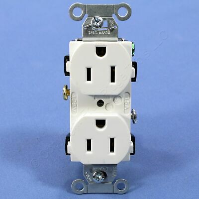 New Hubbell White Commercial Duplex Receptacle Power Outlet NEMA 5-15R 15A CR15W