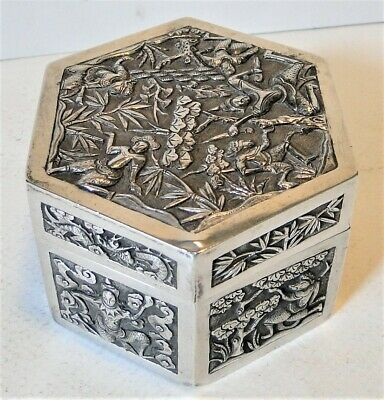 Antique Ornate Chinese Export Silver Hexagonal Covered Box Figural Decor Signed