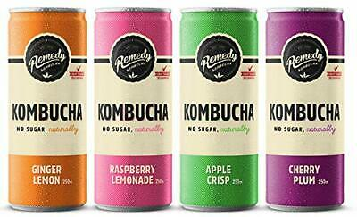Remedy Kombucha Mixed Case (4 Brilliant Flavours) 12 x 250ml cans