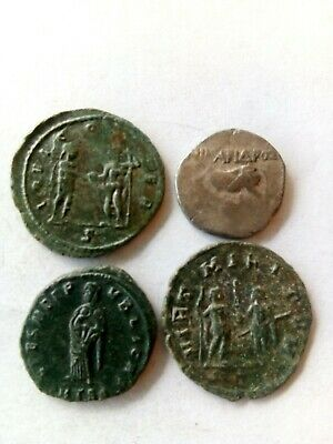 038.Lot of 4 Ancient Roman Bronze Coins,Fausta,1x Silver
