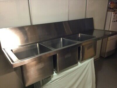 Stainless Steel Commercial Triple Sink