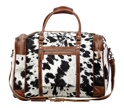 Myra Bag Grand HairOn Traveller Bag Upcycled Leather Duffel Weekender