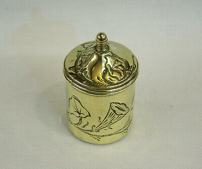 "A Small Antique Arts & Crafts Brass ""Scottish Thistle"" Tea Caddy Tobacco Jar Box"