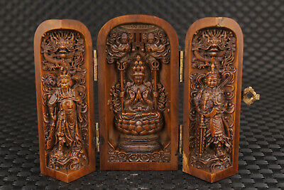 Chinese old boxwood hand carved buddha guanyin box statue figure collectable
