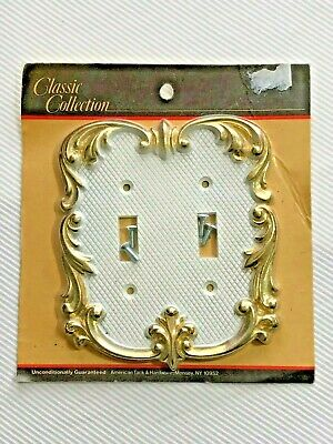 Vintage Ornate Metal Double Light Switch Cover Retro Angelo Brothers MIP NOS