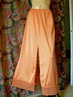Vintage Henson Kickernick Orange Nylon Lacy Slit Formal Half Slip Lingerie L