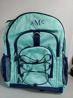 Pottery Barn PB Teen Gear-Up Backpack TEAL POKA DOTS NEW  MONO AMC
