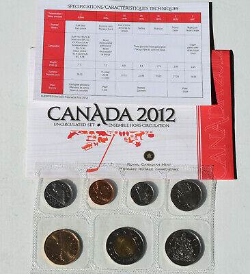 2012 Royal Canadian Mint Uncirculated Set 7 Coin In Original Packaging Canada