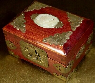 VINTAGE CHINESE REBUPLIC ERA JEWELLERY BOX WOOD JADE BRASS v cute