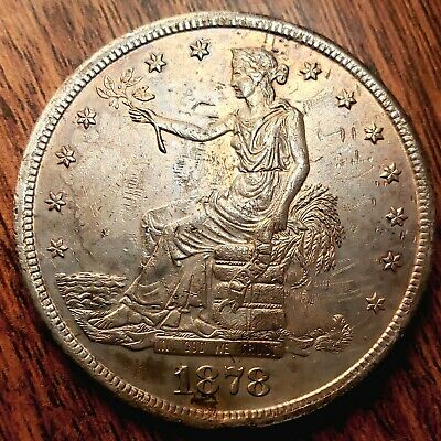 1878-S US Silver Trade Dollar $ UNCIRCULATED DETAILS - AMAZING COLORFUL TONING