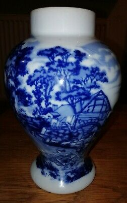 Blue Pottery Vase Windmill Mark Delft? Ming Japanese