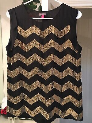 Womens sleeveless blouse Small(S) sequin black gold Vince Camuto holiday chevron