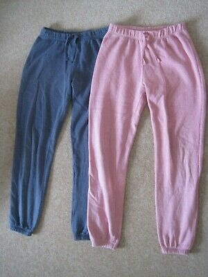 2 pairs of girls tracksuit / jogging bottoms trousers pink & blue, Matalan 13-14