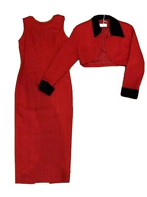 Anthea Crawford Dress Suit Size 8 Red Retro 80's 90's