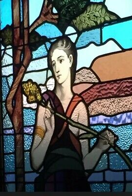 Stained Glass Leadlight Large Genuine Antique Federation Window Goddess Ceres