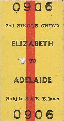 Railway tickets SAR Elizabeth to Adelaide up second class single 1969
