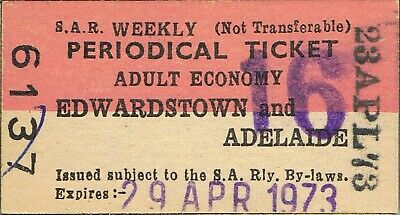 Railway tickets SAR Edwardstown to Adelaide periodical 1973