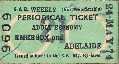 Railway tickets SAR Emerson to Adelaide periodical 1974