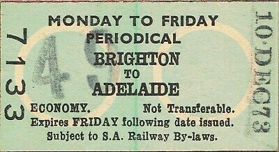 Railway tickets SAR Brighton to Adelaide Monday to Friday periodical 1973