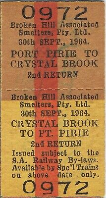 Railway tickets SAR Port Pirie to Crystal Brook second class return unused 1964