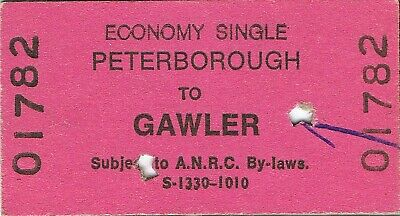 Railway tickets ANRC Peterborough to Gawler economy single 1985