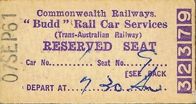 Railway tickets CR Budd Car reserved seat from Port Augusta 1961