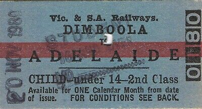 Railway tickets VR SAR Dimboola to Adelaide second class single 1980