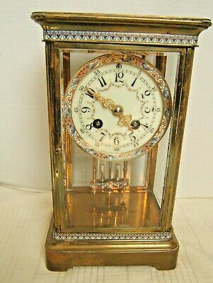 French Regulator Champleve Clock Antique