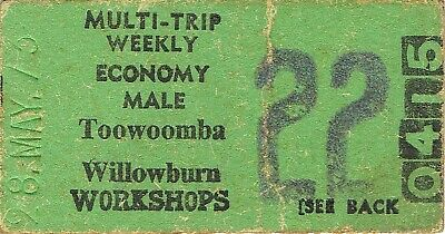 Railway tickets QR Toowoomba to Willowburn Workshops economy weekly 1973