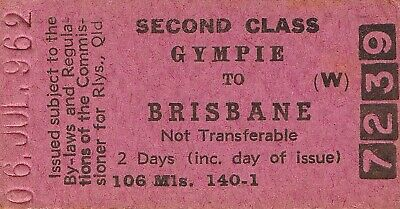 Railway tickets QR Gympie to Brisbane second class single 1962