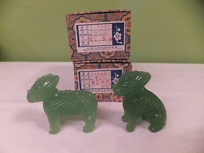 2 Vintage / Antique Hand Carved Light Green Bowenite Mythical Animal