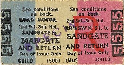 Railway tickets QR Brunswick Street to Margate second class rail bus return