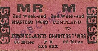 Railway tickets QR Pentland to Charters Towers second class return