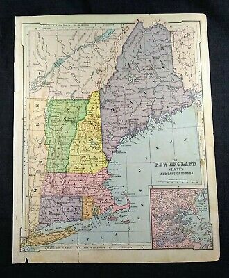 """Antique Color 1880 Map - 9.25x12"""" - New England States, Part of Canada"""