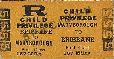 Railway tickets QR Maryborough to Brisbane first class return