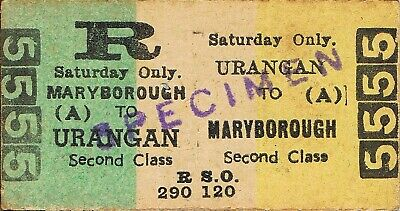 Railway tickets QR Urangan to Maryborough second class return Saturday only
