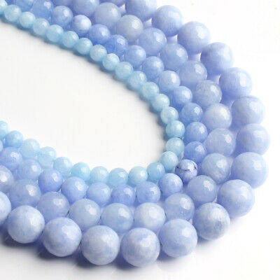 Wholesale Faceted Light Blue Stone Chalcedony Round Beads for Jewelry Making 6mm